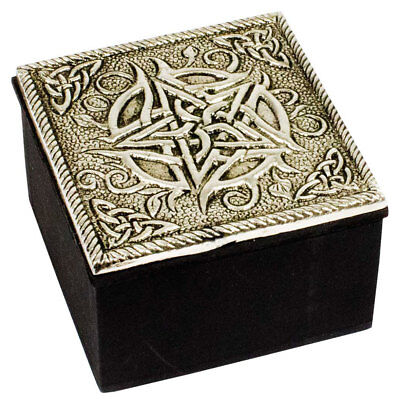 """NEW Silver Pentacle Trinket Box 2.5"""" Wood and Metal Wicca Celtic Pagan Engraved"""