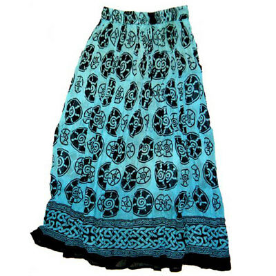 NEW Blue Spiral Skirt Semi-Sheer Cotton Crinkle Tie-Dye Celtic - One Size