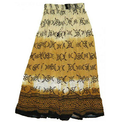 NEW Brown Triple Moon Skirt Semi-Sheer Cotton Crinkle Tie-Dye Pagan - One Size