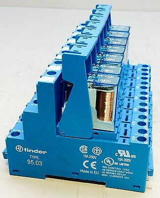Lot of 7 NEW Finder Type 95.03 Relay Socket with Finder Type 40.31 Relay 24V-DC