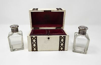 Lovely Scent Bottle Casket with Two Glass Bottles. c.1900