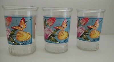 Vintage lot of 3 Bama Jelly Jar Glasses~~Tulips & Butterflies