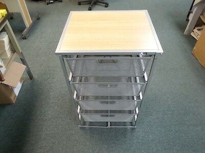 Origami DFS-64-Silver 4-Drawer Storage Cart