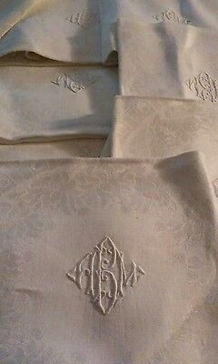 Vtg Damask Linen 70x84 Banquet Tablecloth 7 Napkins Monogram A B M New
