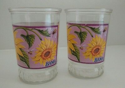 Vintage Lot of 2 Bama Jelly Jar Glasses~~Bees & Sunflowers