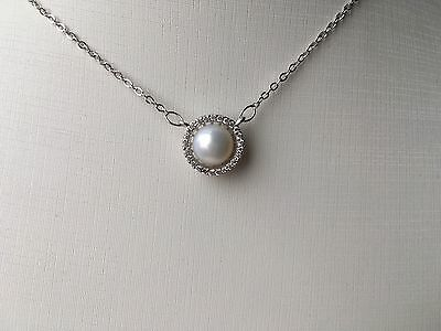 S925 Sterling Silver Genuine Freshwater Pearl Pendant Necklace