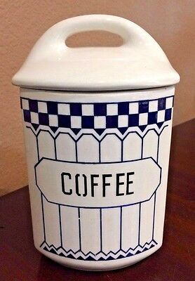 """Yvonne 357 Czechoslovakia """"COFFEE"""" Canister with Lid ~ Vintage 1920's"""
