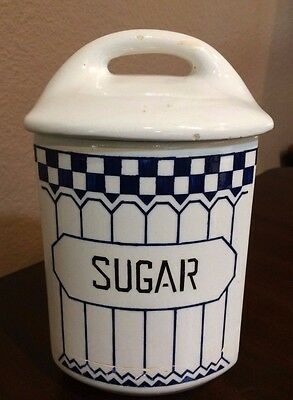 """Yvonne 357 Czechoslovakia """"SUGAR"""" Canister with Lid ~ Vintage 1920's"""