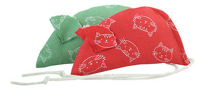 Molly's Mice Faces Pack of 2 Catnip Mice - Red and Green