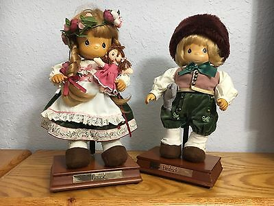 """Precious Moments Wood dolls Fredrick & Louise music boxes that play """"Edelweiss"""