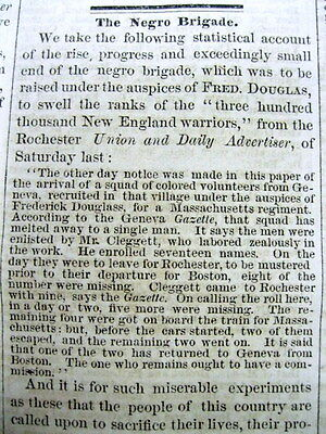1863 Civil War newspaper w Editorial NEGRO SOLDIERS in UNION ARMY are WORTHLESS
