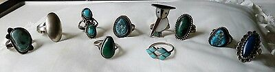 VINTAGE Rare ASSORTED STERLING SILVER 10 RING LOT of  NATIVE AMERICAN Jewelry