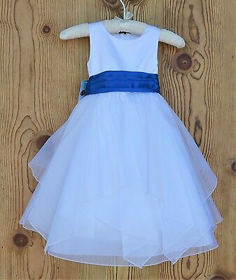 White Tiered Shimmering Organza Flower Girl Dress Princess Ceremony Wedding J012
