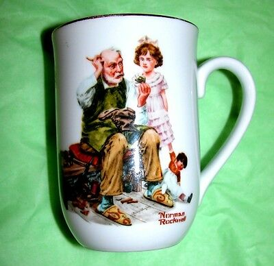 Vintage Norman Rockwell Museum The Cobbler Coffee Mug Cup Excellent