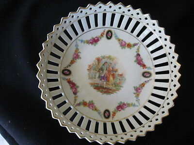 Antique Porcelain Reticulated Bowl Portrait Courting Lovers Germany Wettau Roses