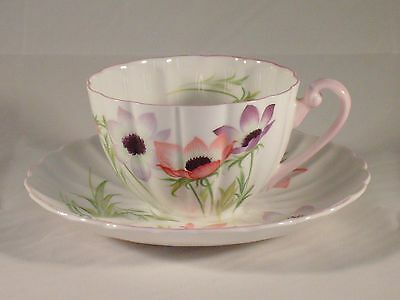 Shelley Cup and Saucer Wind Flower Pattern Fluted Shape