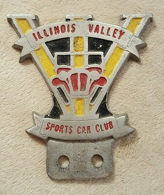 Rare Vintage License Plate Topper Illinois Valley Sports Car Club Collectible