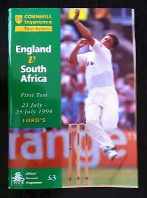 England v South Africa 1994 Cricket Programme and Scorecard Lord's