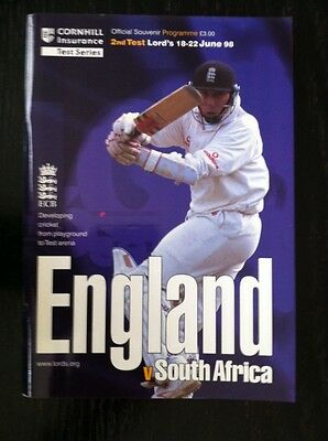 England v South Africa 1998 Cricket Programme and Scorecard Lord's