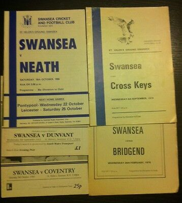 Swansea Rugby Programmes x 8 various dates 1974 to 2000
