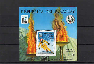 Paraguay minature Sheets Scot #1904 lake Placid Olympics 1980 Skiing CV $60