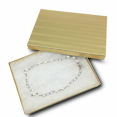 """Lot of 25 pcs 7 1/8""""x5 1/8""""x1 1/8"""" Gold FoilCotton Filled Jewelry Boxes"""