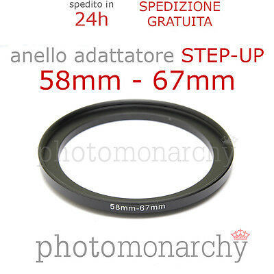 Anello STEP-UP adattatore da 58mm a 67mm filtro - STEP UP adapter ring 58 67 mm