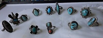 VINTAGE Rare Dead Pawn STERLING SILVER 12 RING LOT of  NATIVE AMERICAN Jewelry