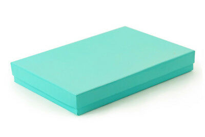 "Lot of 50 pcs 7 1/8""x5 1/8""x1 1/8"" Teal Green Cotton Filled Jewelry Boxes"
