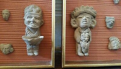 Pre columbian Pottery Statues, Mounted on Two Wall Panels, 16 pieces total