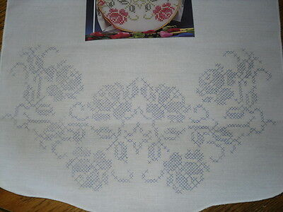 Stamped to Embroider Colonial Rose Scarf Runner  15x42 Perle Finished Edge
