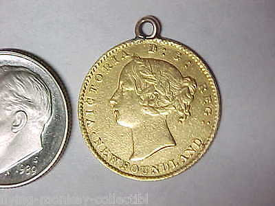 Genuine Newfoundland $2 Gold Coin Queen Victoria Obverse Fancy Engraved Reverse