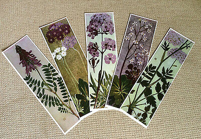 Set of 5 Laminated Bookmarks with Beautiful Alpine Flowers Designs - Set B