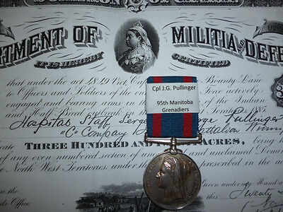 North West Canada Medal 1885 to 95th Winnipeg Infantry to a Hospital Sergeant