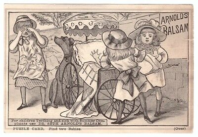1880's Puzzle Trade Card Dr Seth Balsam Medicine Find The Two Babies