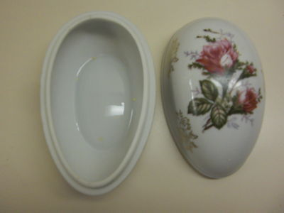 Lefton China Handpainted  Egg Shaped Rose Trinket Box With Gold Etching & Trim