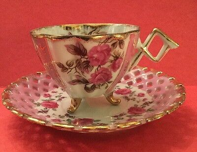 Napco Handpainted Footed Tea Cup With BEAUTIFUL Lattice Saucer ~ Vintage