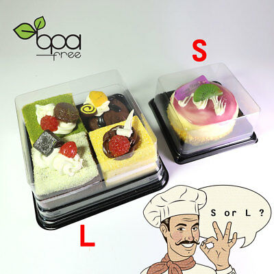 50/100 Square Clear Food-Safe PET Black Base Mini Cake Take Out Container Box DD
