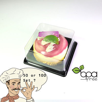 50/100 Square BPA-Free Clear Plastic Black Base Cake To Go Container DD