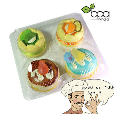 4 Compartment Clear Muffin Takeout Container Cupcake Packing Pod 50/100pcs DD