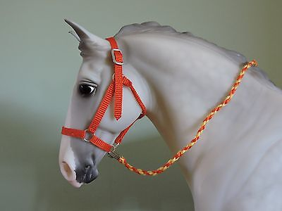 Large Nylon Style Halter Traditional sized Breyer Peter Stone W/Lead Rope ORANGE