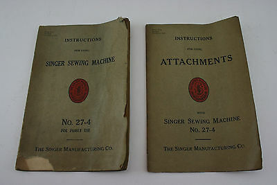 Antique Vintage SINGER 27-4 Sewing Machine Manual & Attachment Instructions