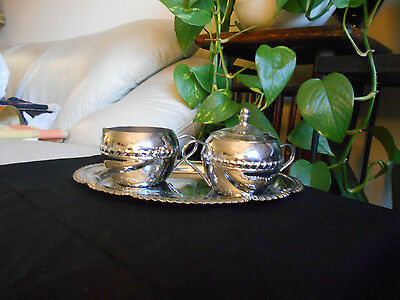 VNTG 1970s IRVINWARE Chrome Plated SUGAR BOWL & CREAMER SET w/ TRAY Made in USA