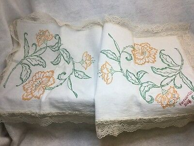Vintage Hand Embroidered Dresser Scarf Table Runner Lace Border 21x42