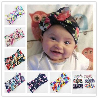 Baby Girl Infant Floral Bow Headband Turban Head wrap Party Hairband Headwear