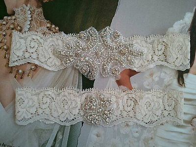 SALE-Wedding Garter, Rhinestone Garter Set, Ivory Lace, Keepsake&Toss Garter Set