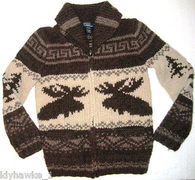 Kids Hand Knit Ralph Lauren Moose Sweater Zip Front NWT S 8 Alpaca Wool