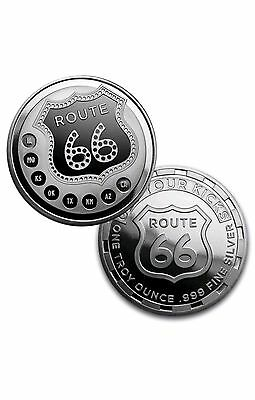 1 oz Silver Route 66 Round USA Made Bullion Coin