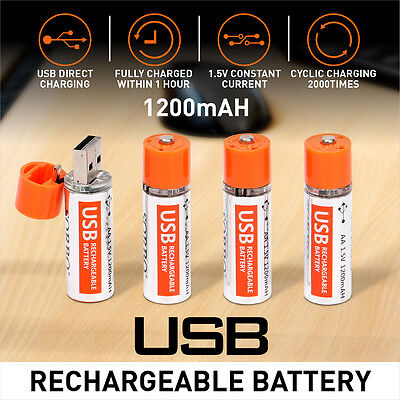 4 pack Rechargeable Batteries AA Size USB USBCELL Rechargeable Battery li-ion