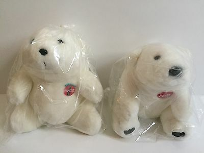 "2 Original 1990's Coca Cola 7"" Polar Bears stuffed Plush Toy Animal (soda sign)"